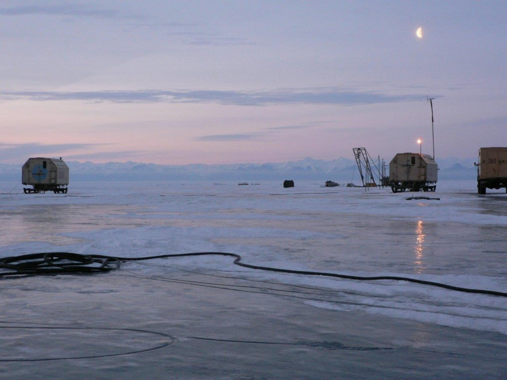 Lake Baikal in Siberia. Under the ice is the world's first underwater telescope designed to detect neutrinos.