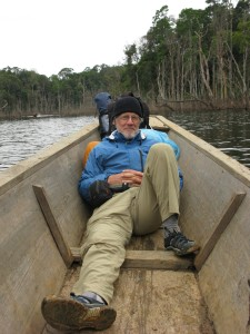 DeBuys taking a break while reporting in Borneo in 2011.
