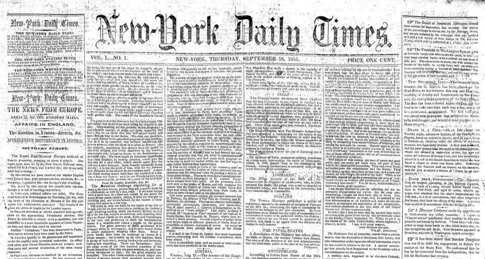 New_York_Daily_Times,_no._1