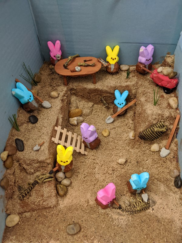 Diorama: Paleontologist Peeps