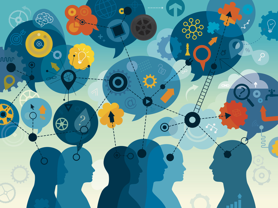 Illustration showing individuals in discussion along with speech bubbles filled with icons such as light bulbs, gears, wheels, question marks, and a magnifying glass.