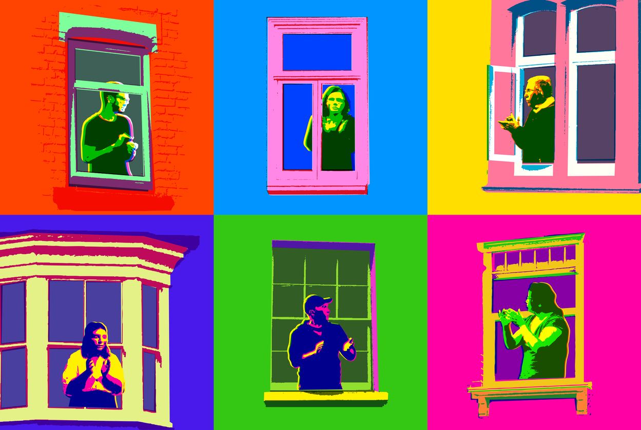 People looking thorugh windows in a colorful pop-art style illustration
