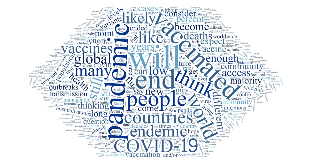 A word cloud in which the most prominent words are pandemic, will, end, people, vaccinate, COVID-19, world, endemic.